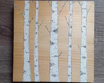 Painting on Wood, Birch Tree Painting, Birch Tree, White Birch, Tree Painting on Wood, Tree Painting, Shabby Chic Wall Art