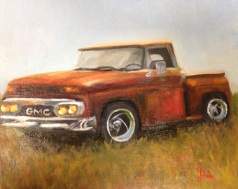 Ready to Ride Painting || GMC Red Truck || Vintage GMC Truck || Vintage Red Truck