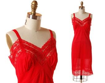 Vintage Red Slip / 1960s Red Lace Nylon Full Slip / Vintage 60s Lingerie / Deena 38