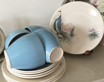 Very Rare Vintage Washington Pottery 'Blue Caribbean' Teaset, 12 Pieces