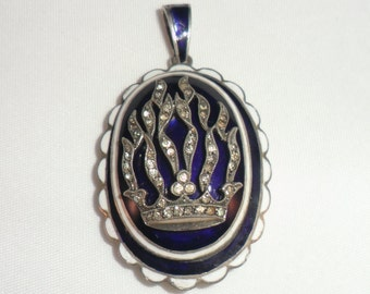 Georgian Royal Blue Enamel, Silver and Diamond Mourning Pendant