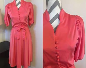 Vintage 70s Dress • pink dress • salmon dress • vintage clothes • vintage dress • 1970s