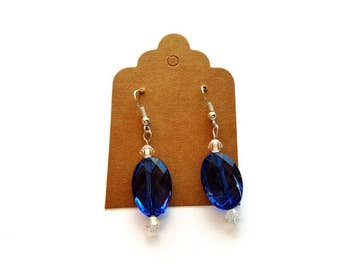 Silver Wires with Acrylic Blue and Crystal Bead Earrings Handmade by Cialeigh