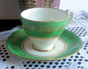 Hammersley 5458 Lovely Green with Gold Details Bone China Tea Cup and Saucer - Made in England