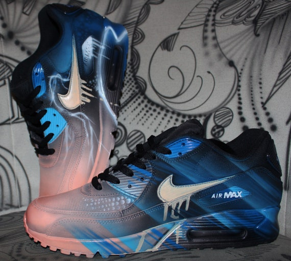 best loved 9ddfd d014a on sale Nike Air Max 90 Blue Abstract Style Painted by DacCrewAirbrush