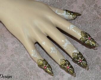 Fantasy claw (brass / pink rhinestones)