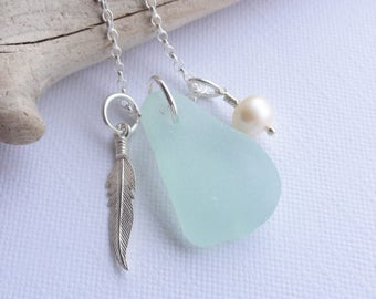 Scottish Sea Glass and Sterling Silver Feather Necklace - Sea Glass from Scotland