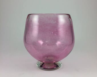 Hand Blown Pink Candle Holder Bowl