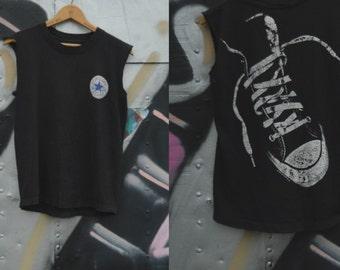 90s vintage distressed top muscle shirt Converse shirt graphics tee Skater shirt Cut off shirt  - Medium