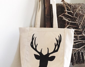 Canvas Tote Bag - Stag - Shiplap - Merry Christmas - FREE SHIPPING - Stone and Willow