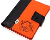 ANTI RFID protection | Passport holder | Passport cover for travel | mappemonde world map blue white | 2 passports + card