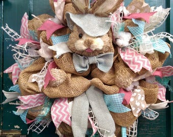 Easter Bunny Wreath, Easter Wreath, Burlap Easter Bunny Wreath, Burlap Easter Wreath, Bunny Ears Wreath, Bunny Legs Wreath