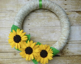 Fall Felt Wreath, Sunflower Wreath, Fall Flower Wreath, Felt Flower Wreath