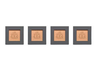 Picture Frame Set of Four - Charcoal 4x4 Frame Collage Set.