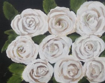 NINE White roses,  approx 8x10 original acrylic on canvas board