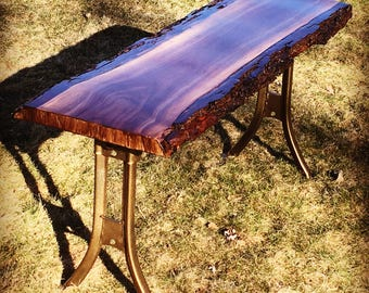 Live Edge Black Walnut Bench, Accent Table, Wood Slab Table