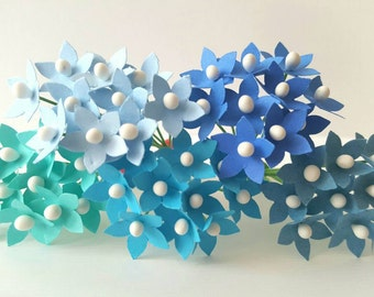 50 assorted blue paper flowers / small blue flowers