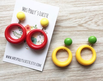 Double Hoops - Fakelite -1950s,1960s - Posts earrings -