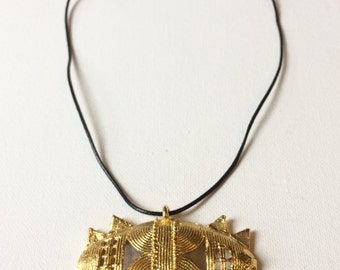 African Gold necklace, Akan gold weights necklace, geometric pendant necklace, unique African necklace