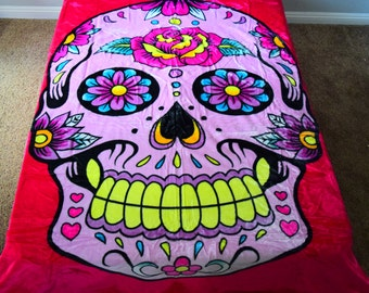 NEW! 5 Pounds! Super Soft QUEEN PINK Girl Korean Style Mink Blanket Skelton Colorful Sugar Skull Bones dias de los muertos