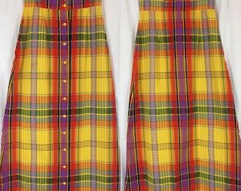 Fetching 60's Lanz Bright Plaid Maxi Skirt / Vintage 1960's Rainbow Plaid Skirt