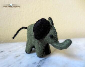 Small elephant, felt elephant, miniature elephant, baby elephant, small felt animal, felt stuffed animal
