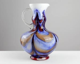 Tall orange blue Opaline Florence crystal glass vase, 70s, Italy, mid century, vintage
