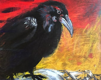 Raven - Original Painting on Wood