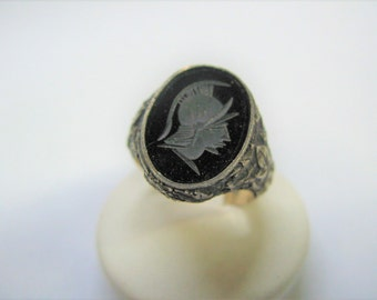 band ring 925 silver plated engraved Onyx head Warrior