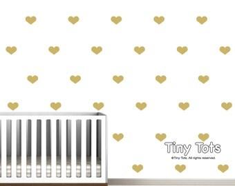 Gold Heart Decals-Nursery Wall Art-Baby Nursery Decor-Wall Decals-Wall Stickers-Gold-Wall vinyl decals-decal-Children's Wall Decals