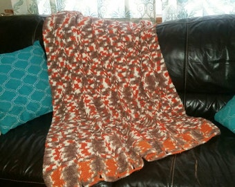 Vintage Afghan / Orange Brown Cream / Gift for Him / Cabin Decor / Winter is Coming