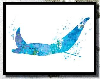 Manta ray print Sealife print Manta ray Watercolor Print Nautical painting Sealife poster Coastal art Beach home Bathroom decor Ocean art