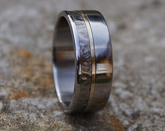 Titanium, brass and stainless steel ring