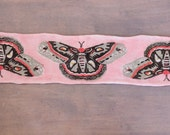 Hand Painted Art Sock Blank -- Moth on Pink