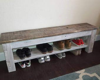Farmhouse storage bench, shoe storage