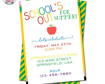 School's Out Invitation, End of School Invitation, Editable School's Out Invitation, Summer Party Invitation, End of the Year