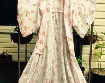 Vintage maxi 70's cotton Kimono
