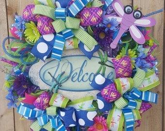 Deco Mesh Welcome Summer Wreath-Summer Dragonfly Door Wreath-Mesh Welcome Door Wreath-Summer Wreath-Welcome Wreath
