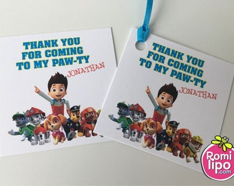 """Paw Patrol party, Set of 24 2.5"""" x 2.5"""" thank you for coming cards or stickers, favor tags, paw patrol, personalized favor tags, kids party"""