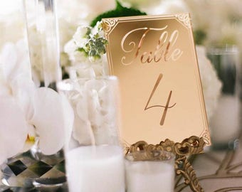 Laser Cut Etched Acrylic Table Number,Wedding Decor,Party Decor,Perfect Weddings,Gold Wedding Decor,Acrylic Wedding Signs,Custom Decor, 1 ct