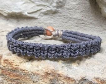 Mens grey hemp bracelet