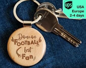 Football Best Fan - key chain, personalized laser engraved wooden key chain