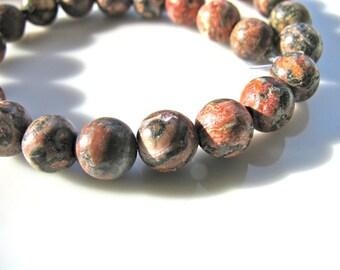 Jasper beads, Leopardskin Jasper, 30 beads, 6mm, red, white, gray, vintage beads, Jewelry supply B-1055