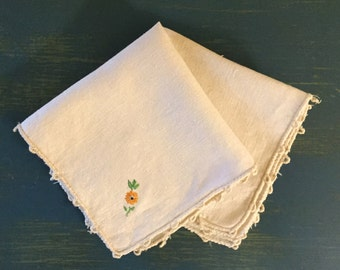 Two Vintage Flower Embroidered Handkerchiefs