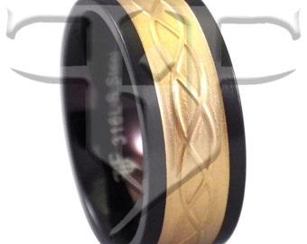 Holy Trinity Ring   Gold Celtic Ring   18K Gold Celtic Black Stainless Steel Ring Size 6.5 7.5 9 10.5 12