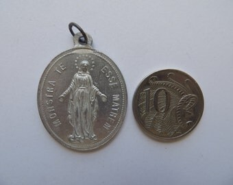 Big Antique Aluminium Medal-Congregation Des Enfants de Marie