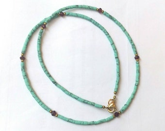 FREE Shipping Worldwide Natural Afghanistan Turquoise Garnet & Brass Tiny Seed Beads Necklace 17.7 inches Handmade Jewelry Make for Order