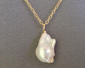 Baroque Pearl - 14 Karat Gold - Pearl Pendant - Pearl Solitaire - Natural Pearl - Large Pearl - Baroque Pearl Drop - Pearl Bridal Pendant