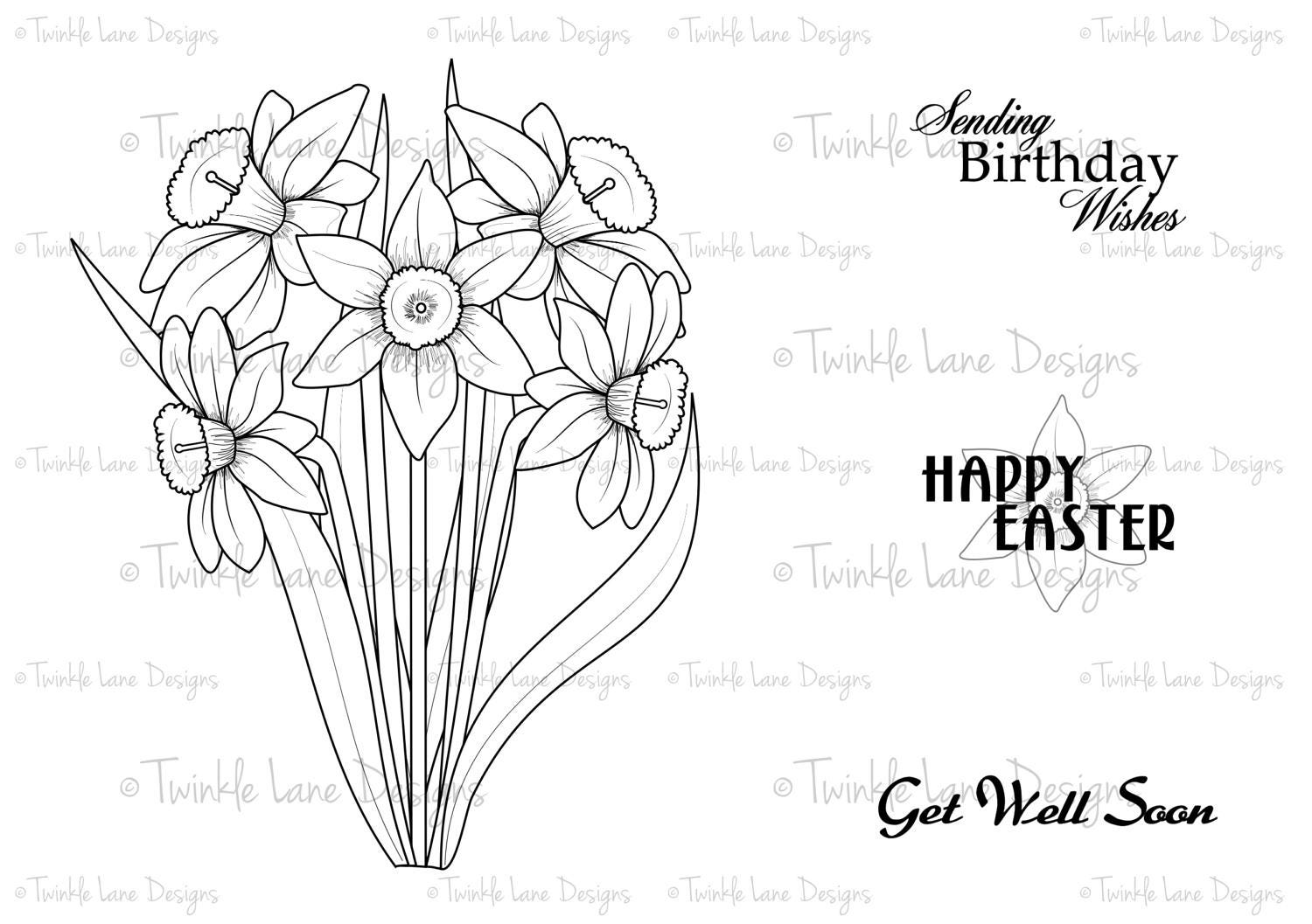 daffodils digi stamp flowers bouquet easter spring flower