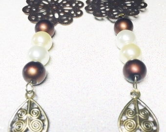Dangle Earrings - Brown Beige Ivory Pearl like Beads - Copper Tone Metal Connector -  Gold Tone Metal Dangle - Free Shipping within the U.S.